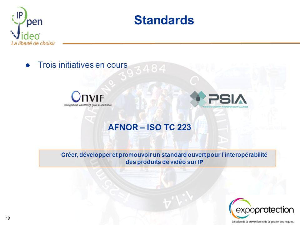 La liberté de choisir 19 Standards Trois initiatives en cours Créer, développer et promouvoir un standard ouvert pour linteropérabilité des produits de vidéo sur IP AFNOR – ISO TC 223