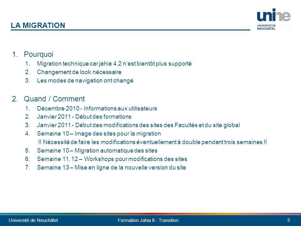 Université de Neuchâtel 4 Formation Jahia 6 - Transition 1.Template Faculté / Global Destiné aux Facultés et au site Global 2.Template Sous-unité Destiné aux instituts, laboratoires et maisons 3.Template Divers Destiné aux services, professeurs, colloques, autres LES NOUVEAUX TEMPLATES