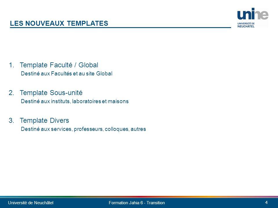 Université de Neuchâtel 15 Formation Jahia 6 - Transition Serveur: http://130.125.97.53:8080/cms/site/droit http://130.125.97.53:8080/cms/site/lettres http://130.125.97.53:8080/cms/site/sciences http://130.125.97.53:8080/cms/site/seco http://130.125.97.53:8080/cms/site/theol Nom dutilisateur: root Mot de passe: rootroot Site test: faculte-test http://130.125.97.53:8080/cms/site/faculte-test Démo des boîtes: http://unine.jahia.com/cms/site/unine À VOUS DE JOUER!
