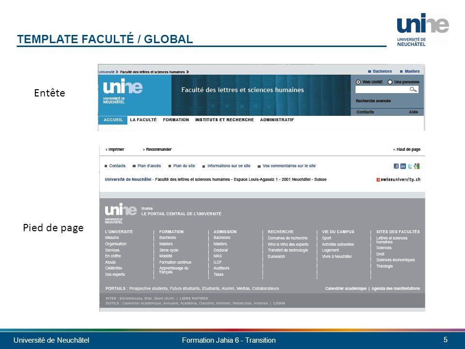Université de Neuchâtel 6 Formation Jahia 6 - Transition TEMPLATE FACULTÉ / GLOBAL - ACCUEIL