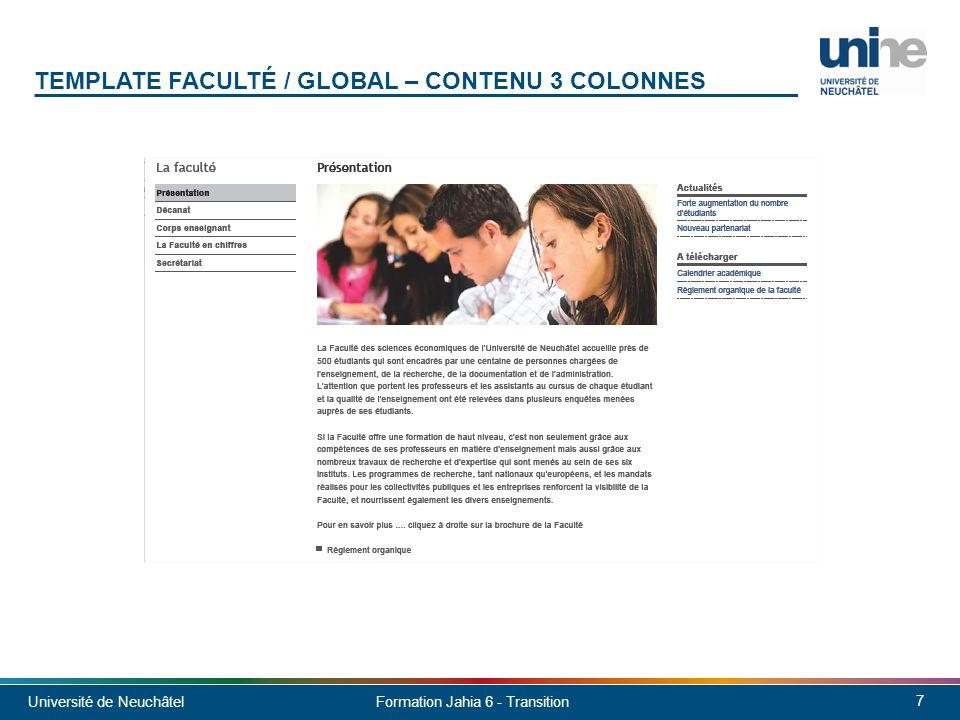 Université de Neuchâtel 8 Formation Jahia 6 - Transition TEMPLATE FACULTÉ / GLOBAL – CONTENU 2 COLONNES