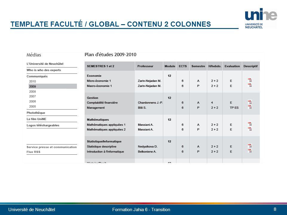 Université de Neuchâtel 9 Formation Jahia 6 - Transition TEMPLATE SOUS-UNITÉ Entête Pied de page