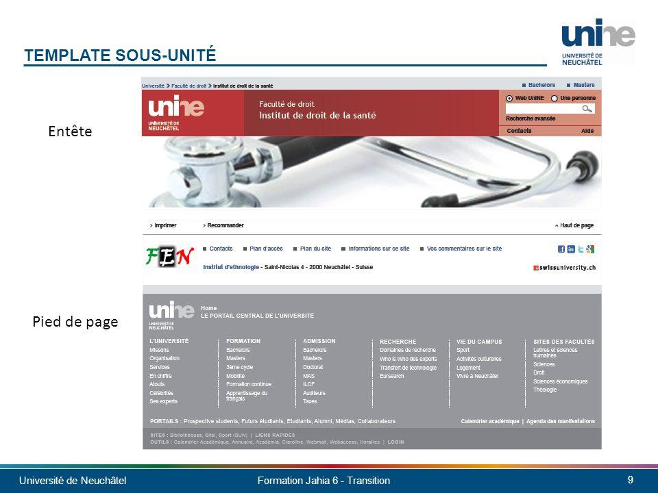 Université de Neuchâtel 10 Formation Jahia 6 - Transition TEMPLATE SOUS-UNITÉ - CONTENU