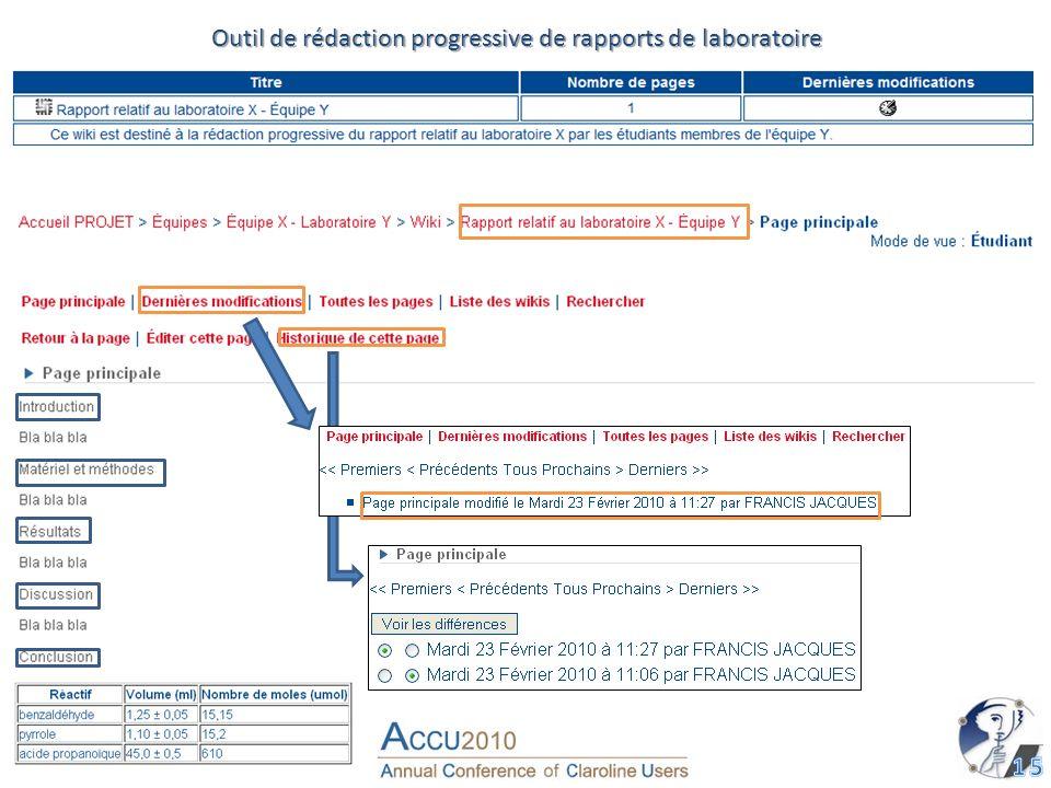 Outil de rédaction progressive de rapports de laboratoire