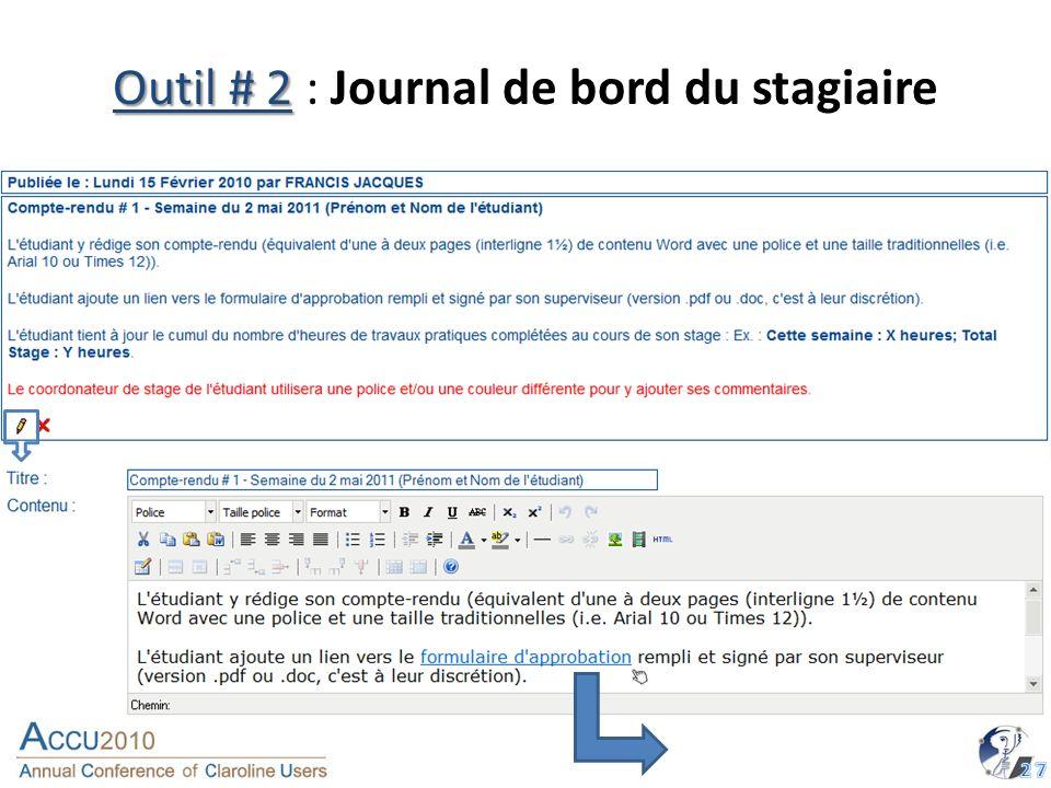 Outil # 2 Outil # 2 : Journal de bord du stagiaire