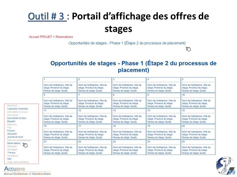 Outil # 3 Outil # 3 : Portail daffichage des offres de stages