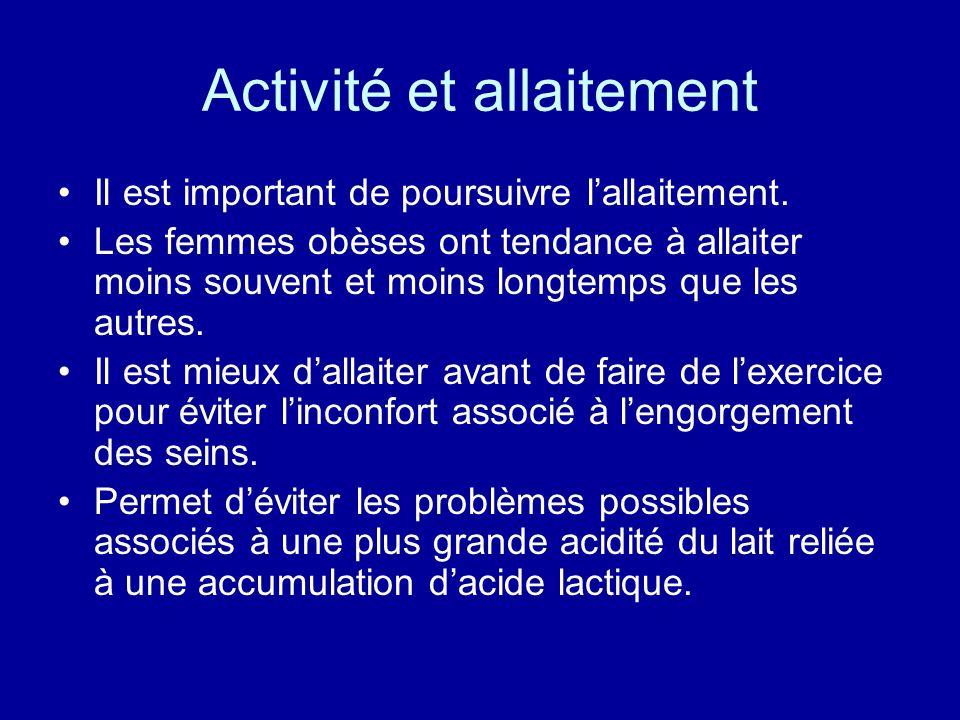 Activité et allaitement Il est important de poursuivre lallaitement. Les femmes obèses ont tendance à allaiter moins souvent et moins longtemps que le