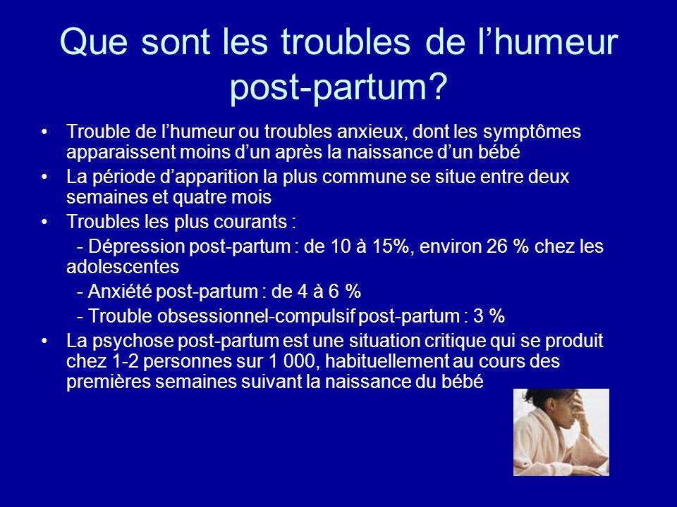 Que sont les troubles de lhumeur post-partum? Trouble de lhumeur ou troubles anxieux, dont les symptômes apparaissent moins dun après la naissance dun