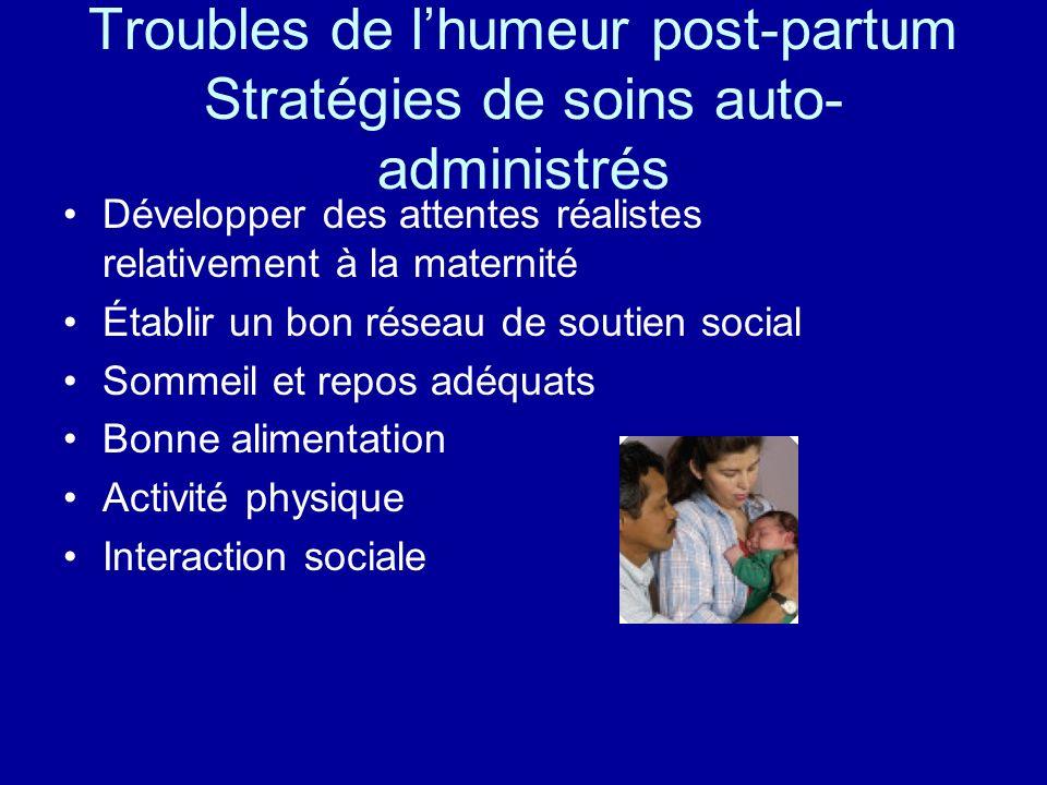 Troubles de lhumeur post-partum Stratégies de soins auto- administrés Développer des attentes réalistes relativement à la maternité Établir un bon rés