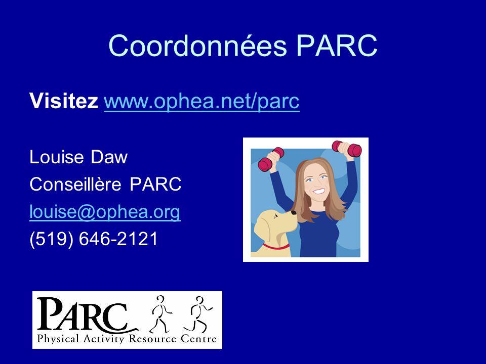 Coordonnées PARC Visitez www.ophea.net/parcwww.ophea.net/parc Louise Daw Conseillère PARC louise@ophea.org (519) 646-2121