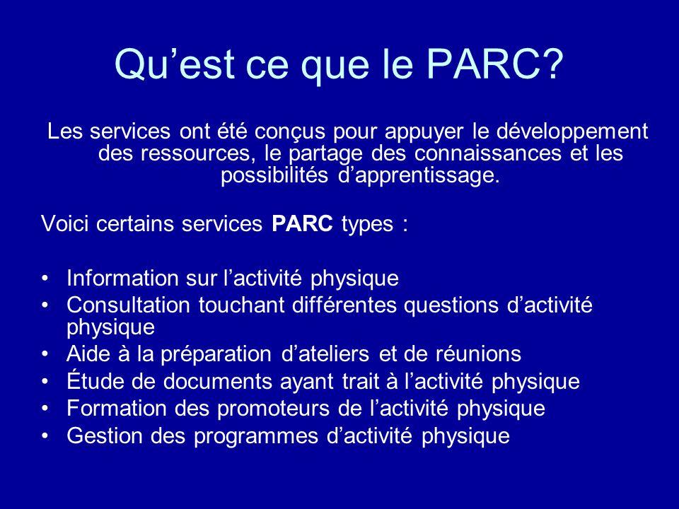 Quest ce que le PARC? Les services ont été conçus pour appuyer le développement des ressources, le partage des connaissances et les possibilités dappr