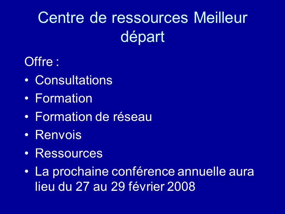 Centre de ressources Meilleur départ Offre : Consultations Formation Formation de réseau Renvois Ressources La prochaine conférence annuelle aura lieu