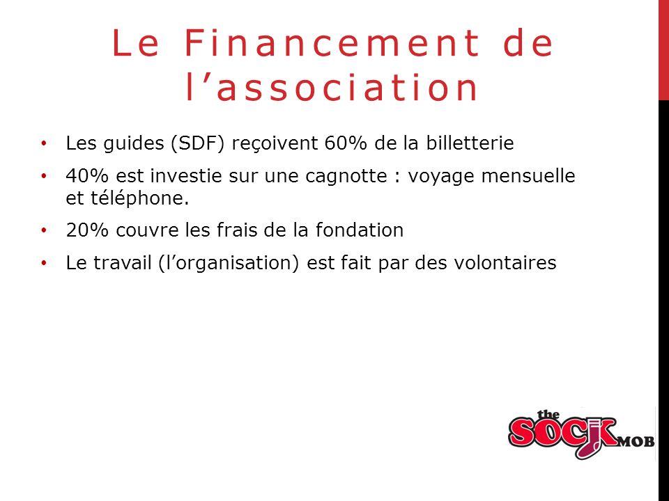 Le Financement de lassociation Les guides (SDF) reçoivent 60% de la billetterie 40% est investie sur une cagnotte : voyage mensuelle et téléphone.