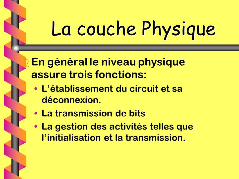 La couche Physique b b En général le niveau physique assure trois fonctions: Létablissement du circuit et sa déconnexion. La transmission de bits La g