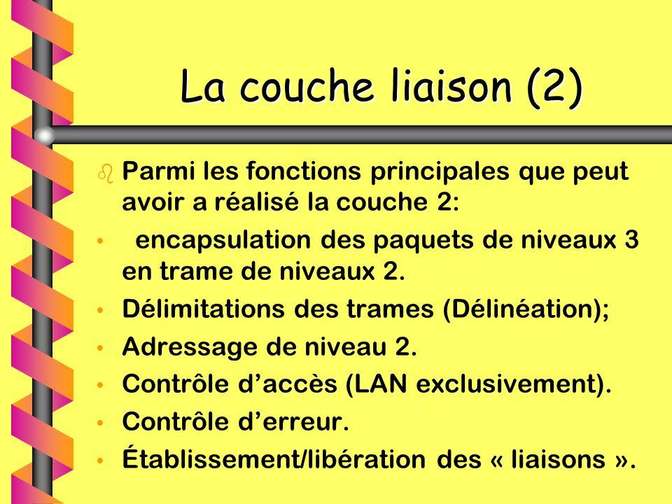 La couche liaison (2) La couche liaison (2) b b Parmi les fonctions principales que peut avoir a réalisé la couche 2: encapsulation des paquets de niv