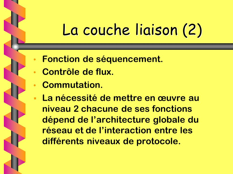 La couche liaison (2) La couche liaison (2) Fonction de séquencement. Contrôle de flux. Commutation. La nécessité de mettre en œuvre au niveau 2 chacu