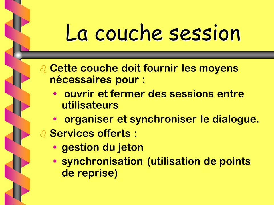 La couche session b b Cette couche doit fournir les moyens nécessaires pour : ouvrir et fermer des sessions entre utilisateurs organiser et synchronis