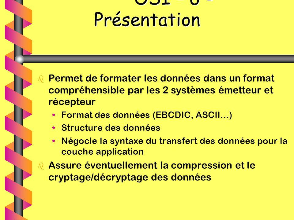 OSI – 6 - Présentation OSI – 6 - Présentation b b Permet de formater les données dans un format compréhensible par les 2 systèmes émetteur et récepteu