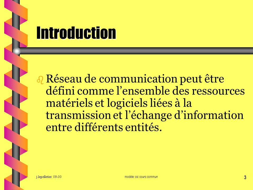 j.lepelletier 09-00modèle osi cours commun 3 Introduction b Réseau de communication peut être défini comme lensemble des ressources matériels et logic