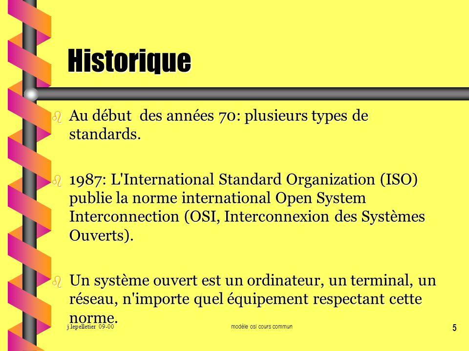 j.lepelletier 09-00modèle osi cours commun 5 Historique b Au début des années 70: plusieurs types de standards. b 1987: L'International Standard Organ