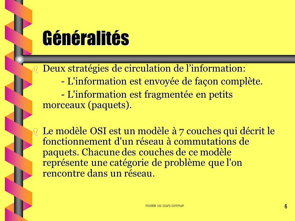 modèle osi cours commun 6 Généralités b Deux stratégies de circulation de linformation: - L'information est envoyée de façon complète. - L'information