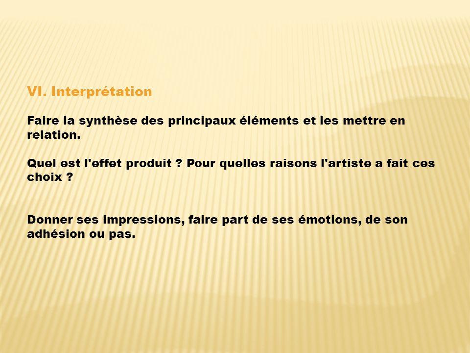 VI.Interprétation Faire la synthèse des principaux éléments et les mettre en relation.