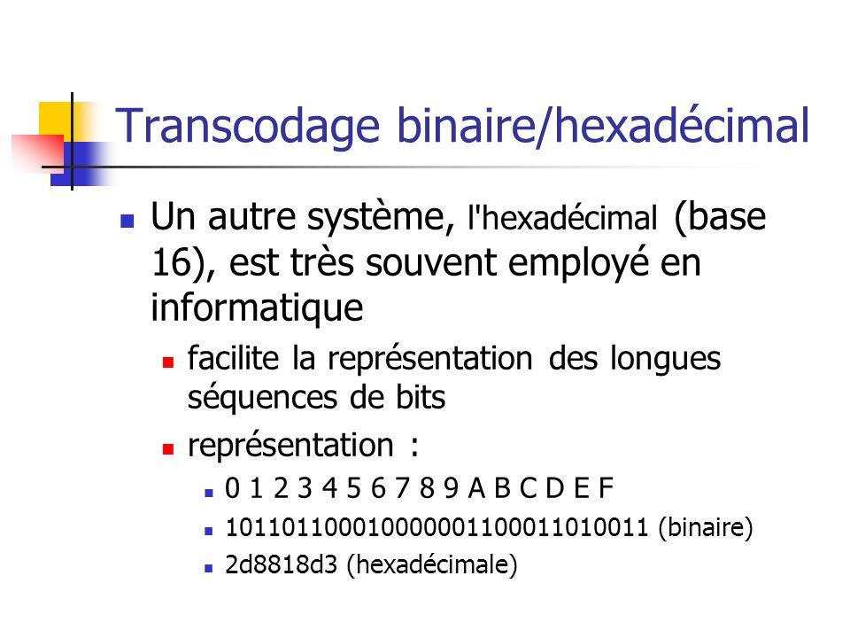 Transcodage binaire/hexadécimal Un autre système, l'hexadécimal (base 16), est très souvent employé en informatique facilite la représentation des lon