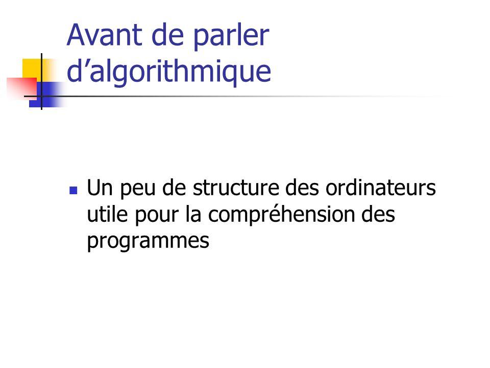 Avant de parler dalgorithmique Un peu de structure des ordinateurs utile pour la compréhension des programmes