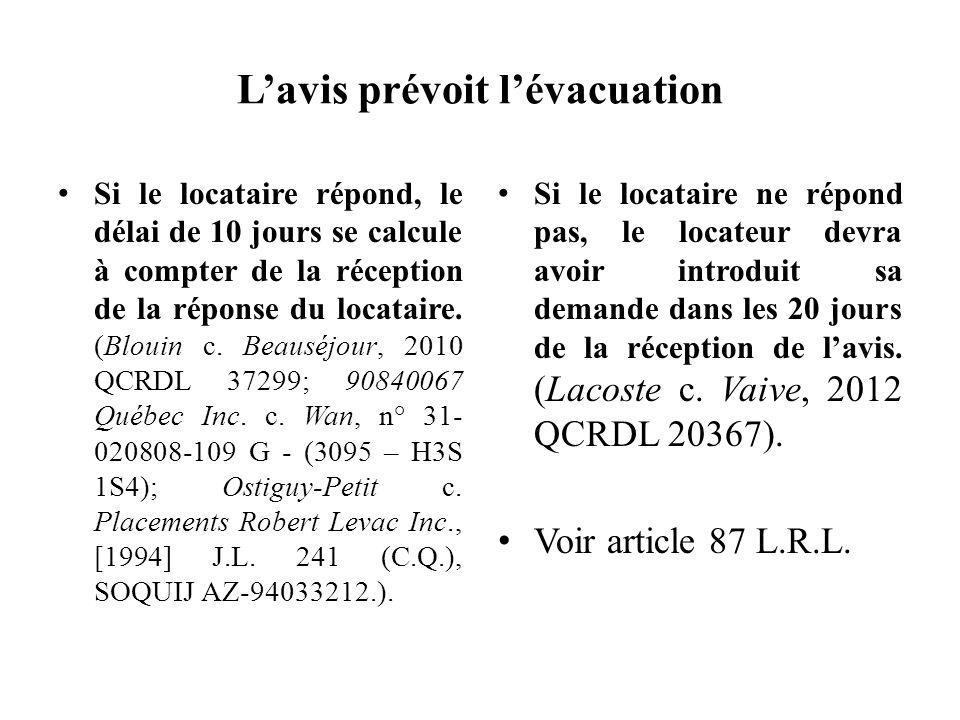 Lavis prévoit lévacuation Si le locataire répond, le délai de 10 jours se calcule à compter de la réception de la réponse du locataire. (Blouin c. Bea