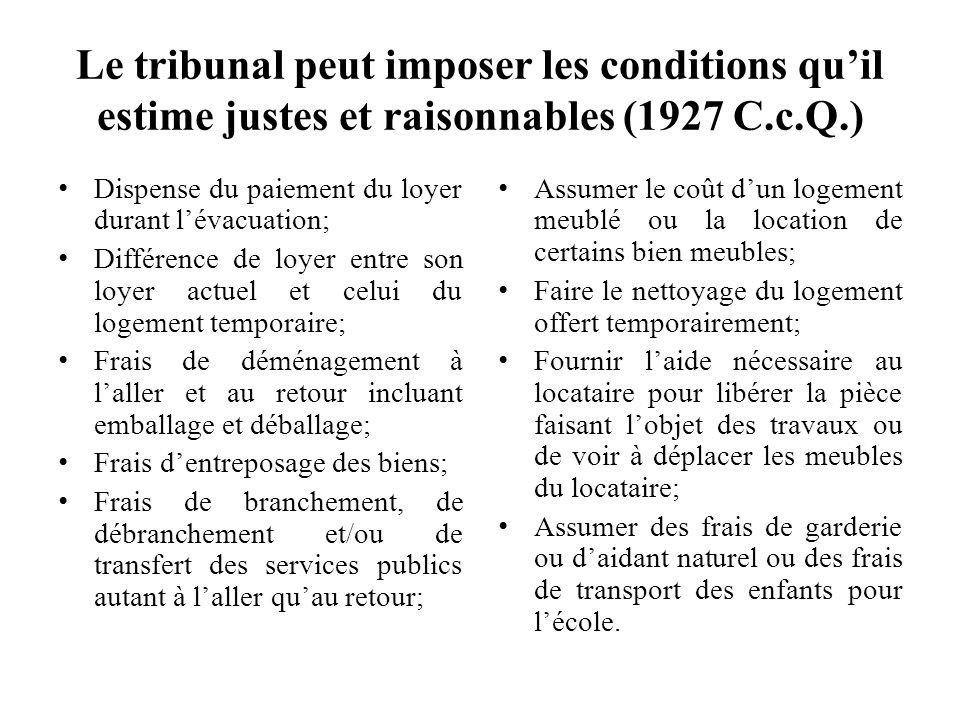 Le tribunal peut imposer les conditions quil estime justes et raisonnables (1927 C.c.Q.) Dispense du paiement du loyer durant lévacuation; Différence