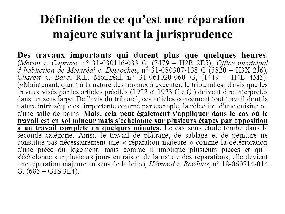 Lorsquil effectue des travaux majeurs, le locateur doit agir de bonne foi (Articles 6, 7 et 1375 du Code civil du Québec) Par ces travaux, il ne doit pas chercher à évincer un locataire.