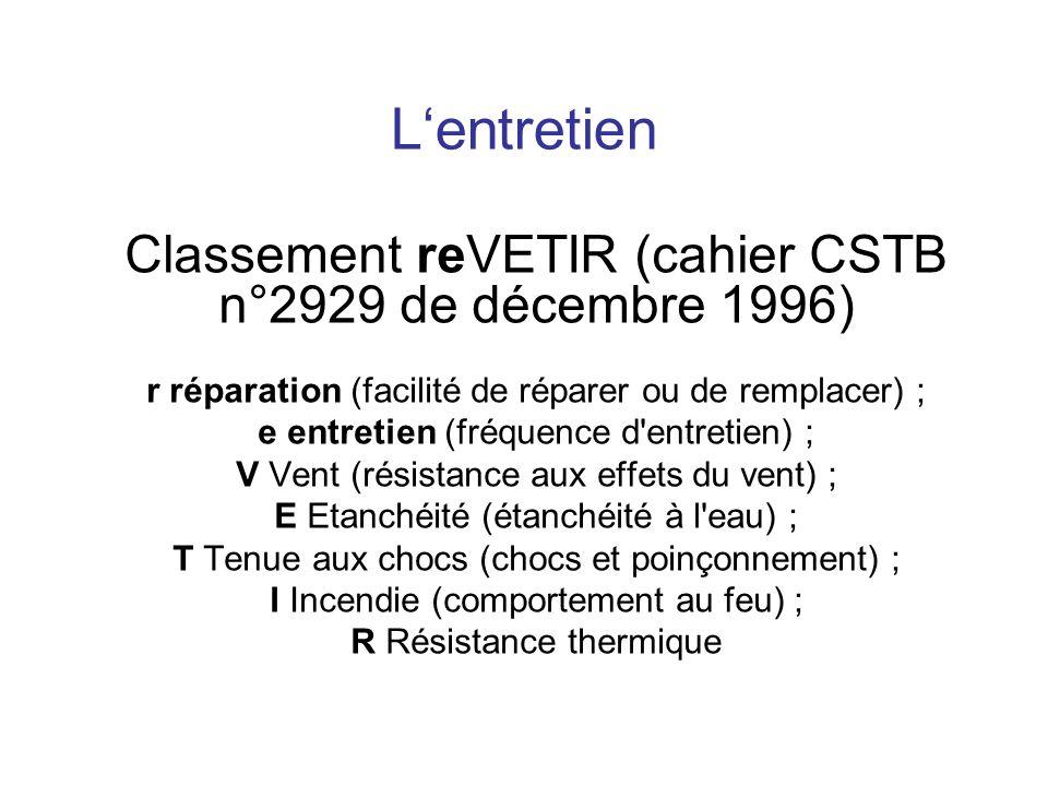 Lentretien Classement reVETIR (cahier CSTB n°2929 de décembre 1996) r réparation (facilité de réparer ou de remplacer) ; e entretien (fréquence d'entr