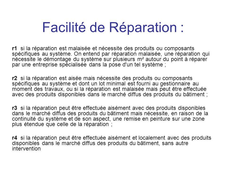 Facilité de Réparation : r1 si la réparation est malaisée et nécessite des produits ou composants spécifiques au système. On entend par réparation mal