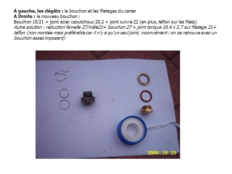 A gauche, les dégâts : le bouchon et les filetages du carter A Droite : le nouveau bouchon : Bouchon 15/21 + joint acier caoutchouc 20.2 + joint cuivr