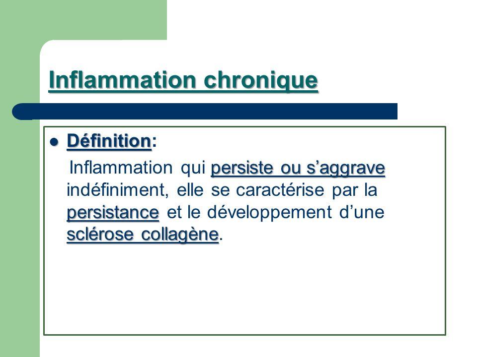 Inflammation chronique Définition Définition: persiste ou saggrave persistance sclérose collagène Inflammation qui persiste ou saggrave indéfiniment,