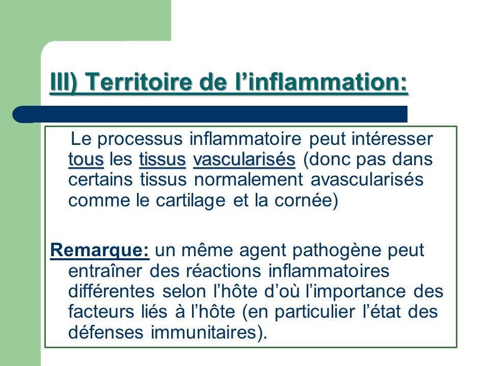 III) Territoire de linflammation: toustissusvascularisés Le processus inflammatoire peut intéresser tous les tissus vascularisés (donc pas dans certai