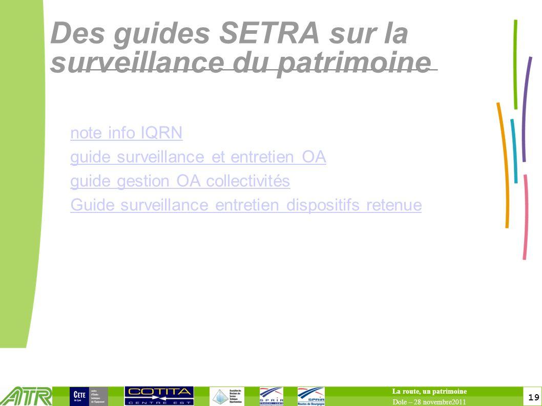 19 Des guides SETRA sur la surveillance du patrimoine note info IQRN guide surveillance et entretien OA guide gestion OA collectivités Guide surveilla