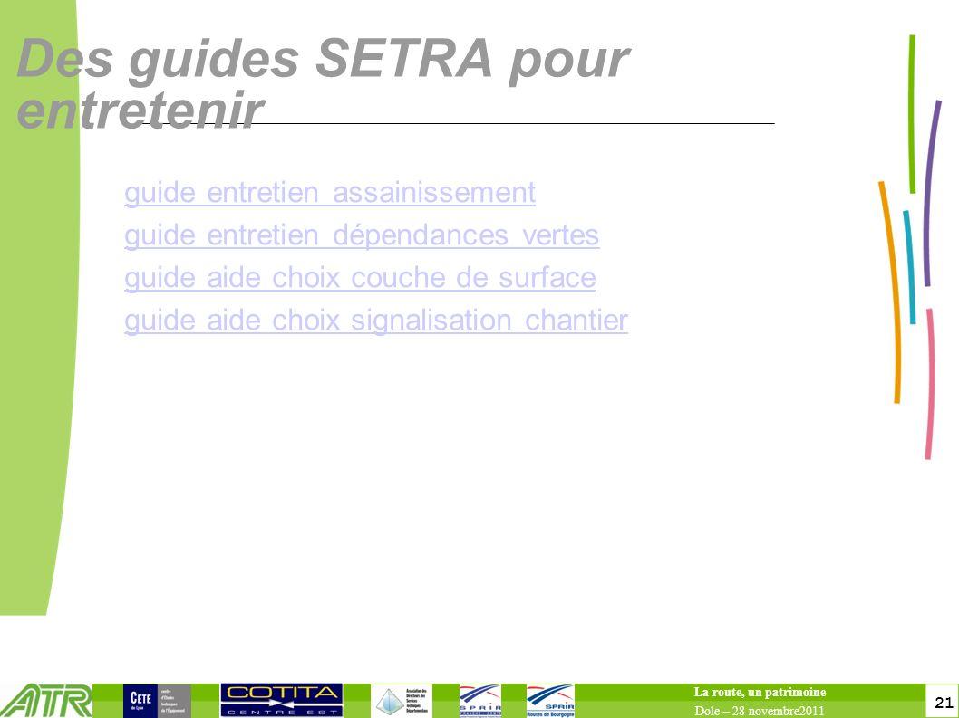 21 Des guides SETRA pour entretenir guide entretien assainissement guide entretien dépendances vertes guide aide choix couche de surface guide aide ch
