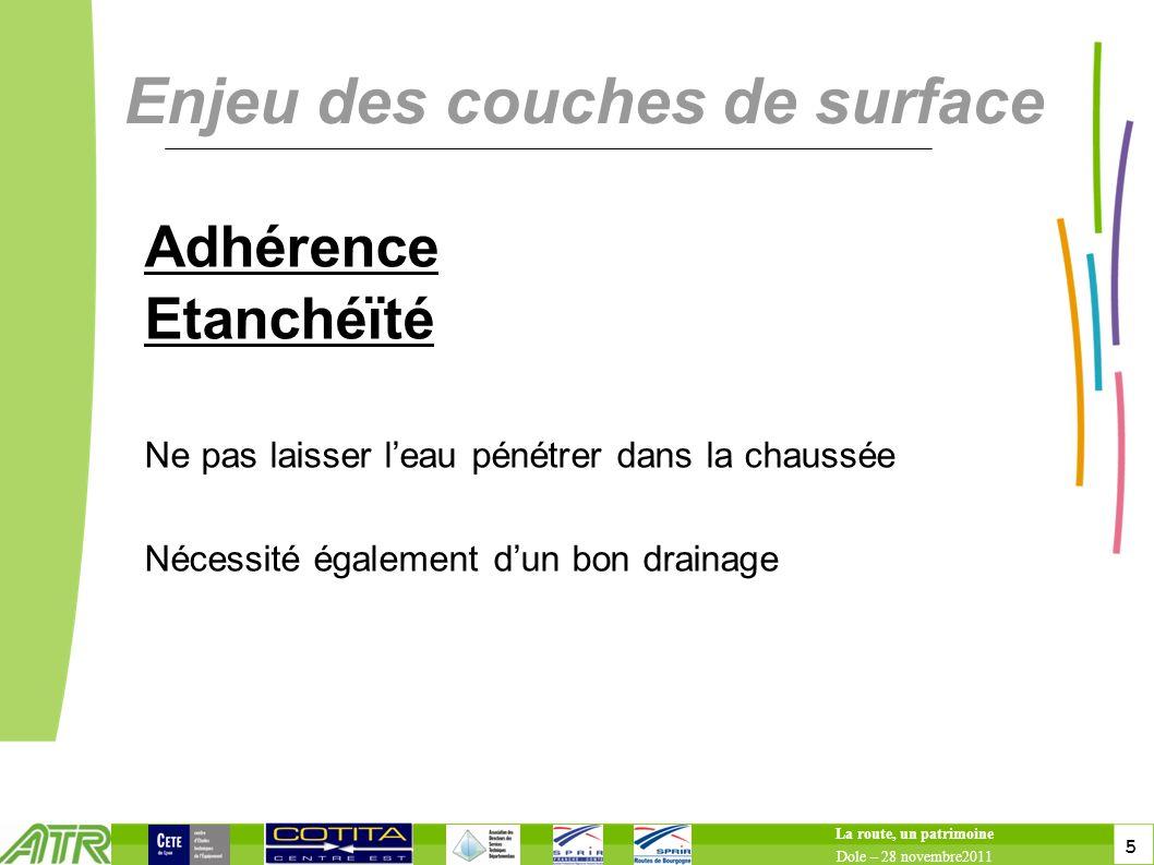 5 5 Enjeu des couches de surface Adhérence Etanchéïté Ne pas laisser leau pénétrer dans la chaussée Nécessité également dun bon drainage La route, un