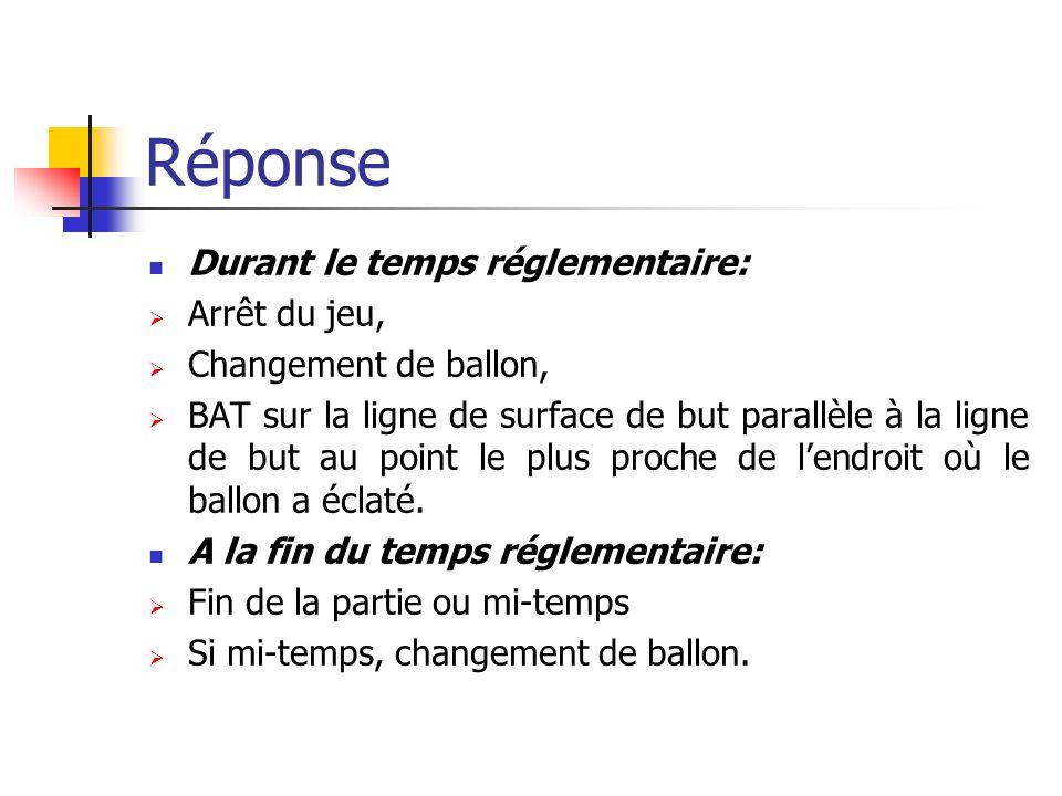 Question 8 Coup de pied de réparation, après avoir été régulièrement botté, le ballon heurte la barre transversale et éclate. Décisions?