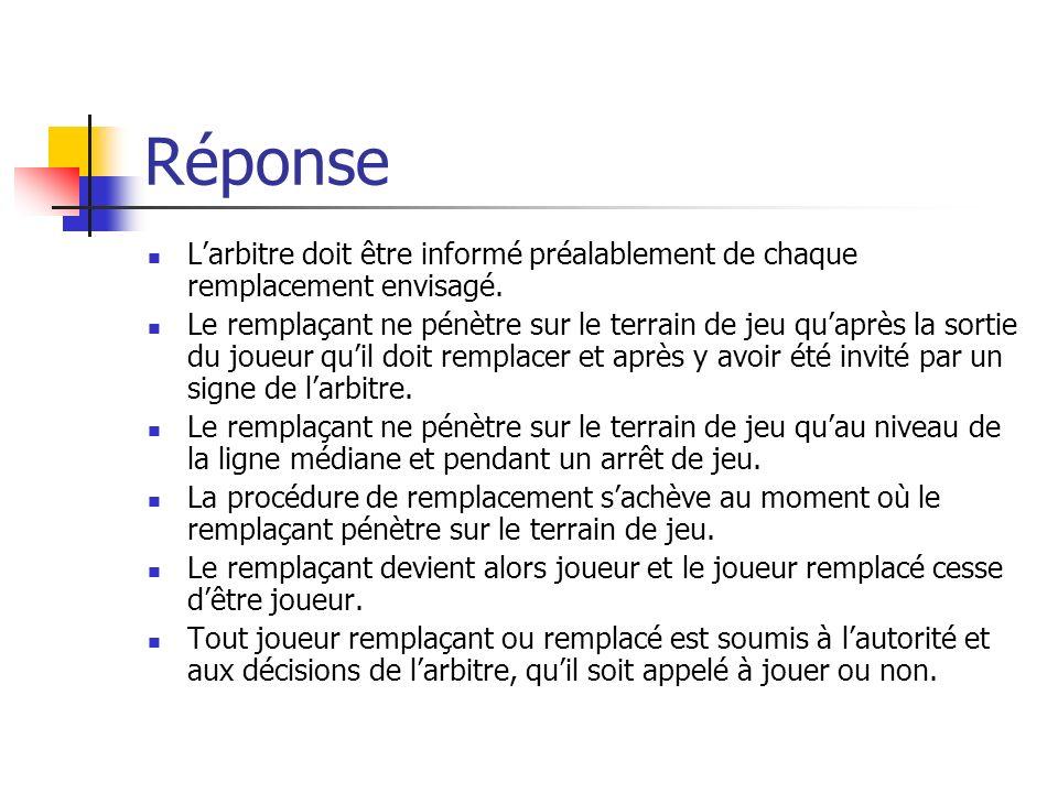 Question 11 Quelle est la procédure de remplacement dun joueur? Définissez les situations générées par le remplacement.