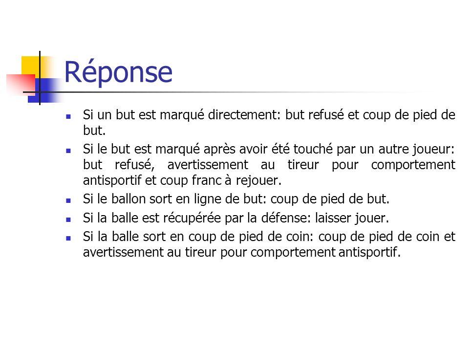 Question 12 Coup franc pour léquipe attaquante sur la ligne de surface de but.