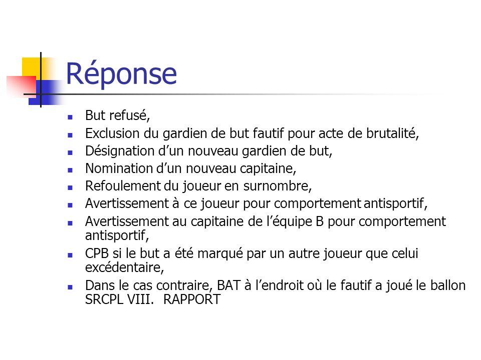 Question 17 Le jeu se déroule dans la surface de réparation de léquipe A.