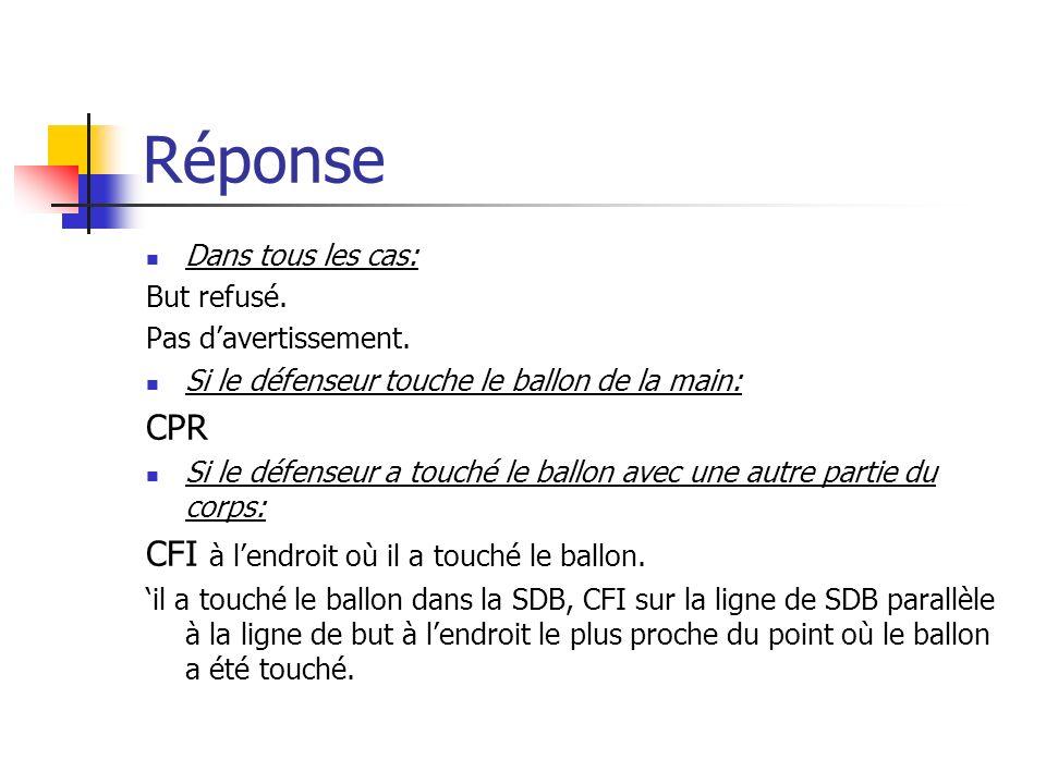 Question 22 CFI exécuté par un défenseur dans sa SDR. Le ballon sort de la SDR, touche larbitre et revient vers le but du défenseur. Ce dernier, voyan