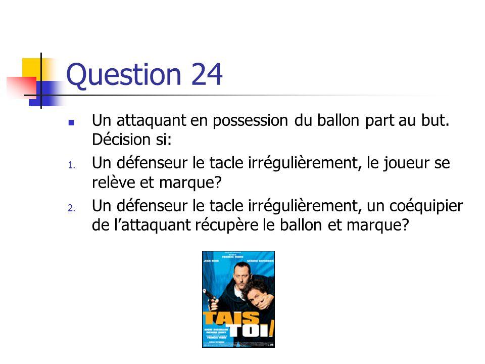 Réponse 1. Ballon en jeu, 2. Faute commise sur le terrain de jeu en dehors de la SDR du fautif, 3. Une des dix fautes de la loi XII pour lesquelles un
