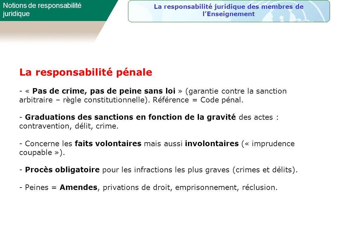 La responsabilité pénale - « Pas de crime, pas de peine sans loi » (garantie contre la sanction arbitraire – règle constitutionnelle). Référence = Cod