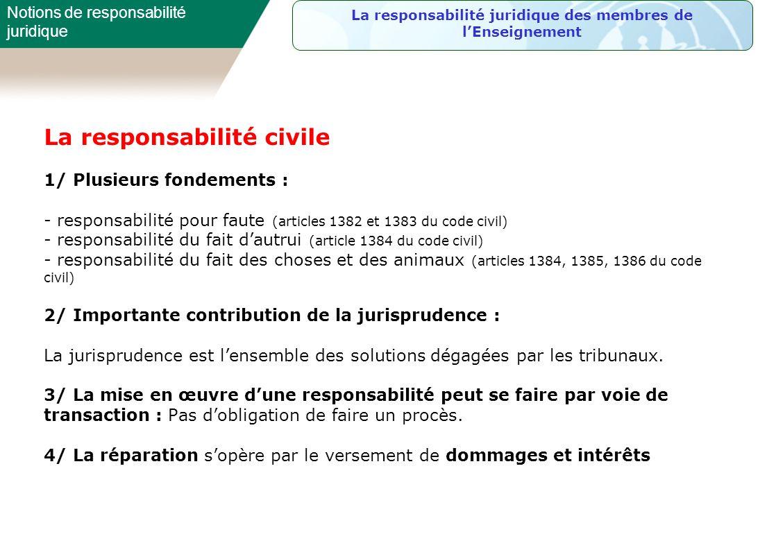 La responsabilité civile 1/ Plusieurs fondements : - responsabilité pour faute (articles 1382 et 1383 du code civil) - responsabilité du fait dautrui
