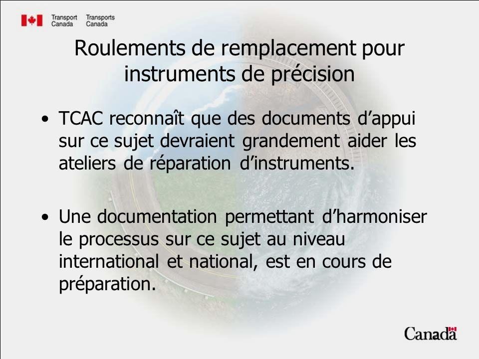 2 Roulements de remplacement pour instruments de précision TCAC reconnaît que des documents dappui sur ce sujet devraient grandement aider les ateliers de réparation dinstruments.