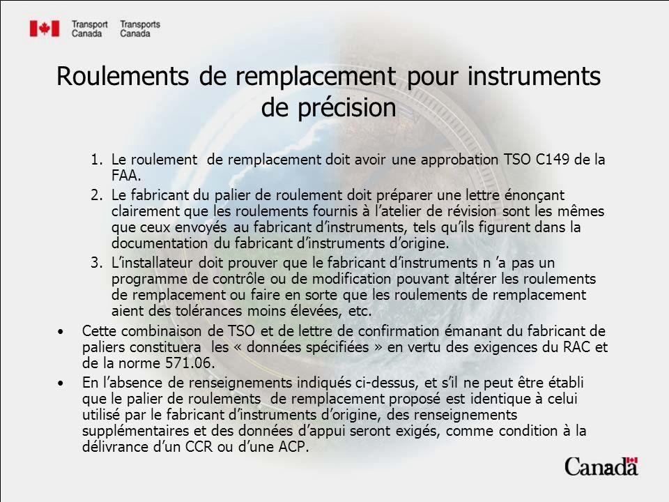 5 1.Le roulement de remplacement doit avoir une approbation TSO C149 de la FAA.
