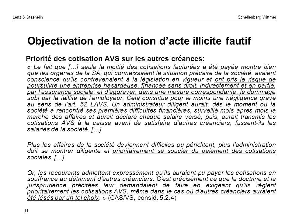 Lenz & Staehelin Schellenberg Wittmer Objectivation de la notion dacte illicite fautif Priorité des cotisation AVS sur les autres créances: « Le fait